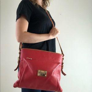 Valentina large red leather crossbody purse